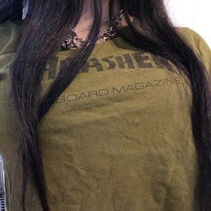 thrasher green tshirt
